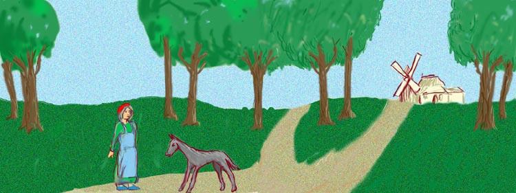 En passant dans un bois elle rencontra compère le Loup