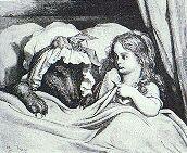Gravure du Petit Chaperon rouge et du loup déguisé, par Gustave Doré, 1862